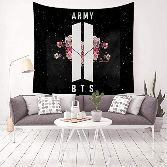 QOWMSA 3D Print Army BTS Tapestry, Wall Hanging Bedding Decor Tapestries Living Room Dorm Bedroom Home Decorations