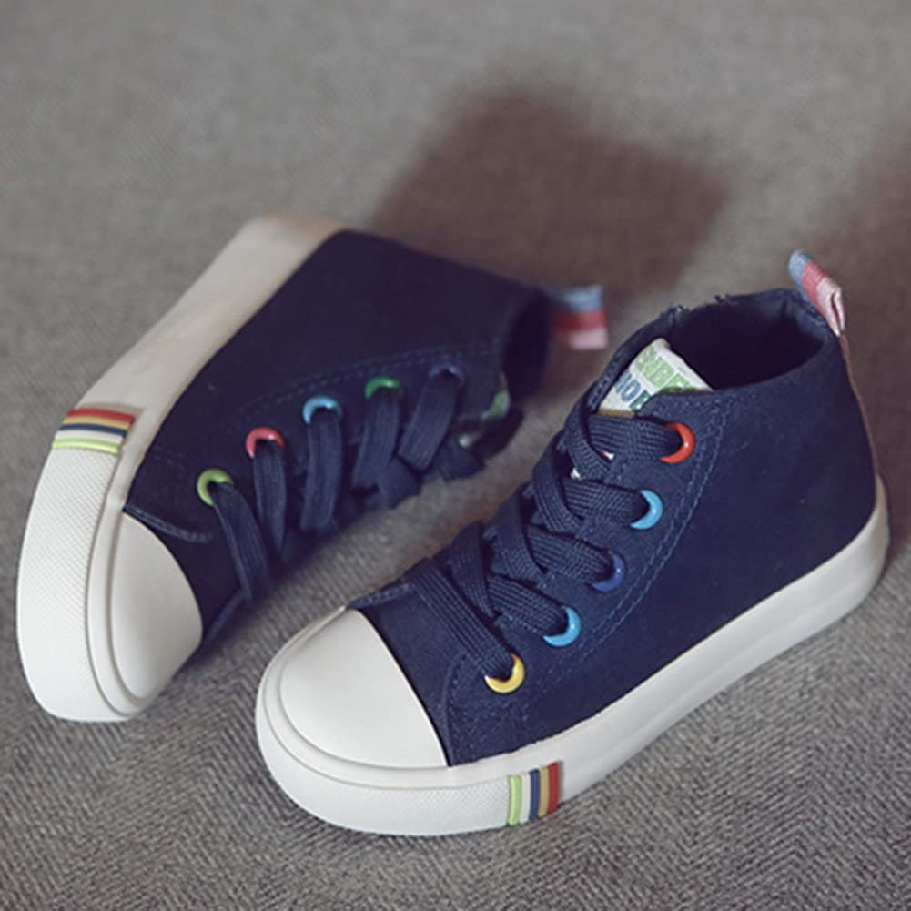 SFNLD InStar Kids Casual Contrast Color Round Toe High Top Side Zip Sneakers Canvas Shoes