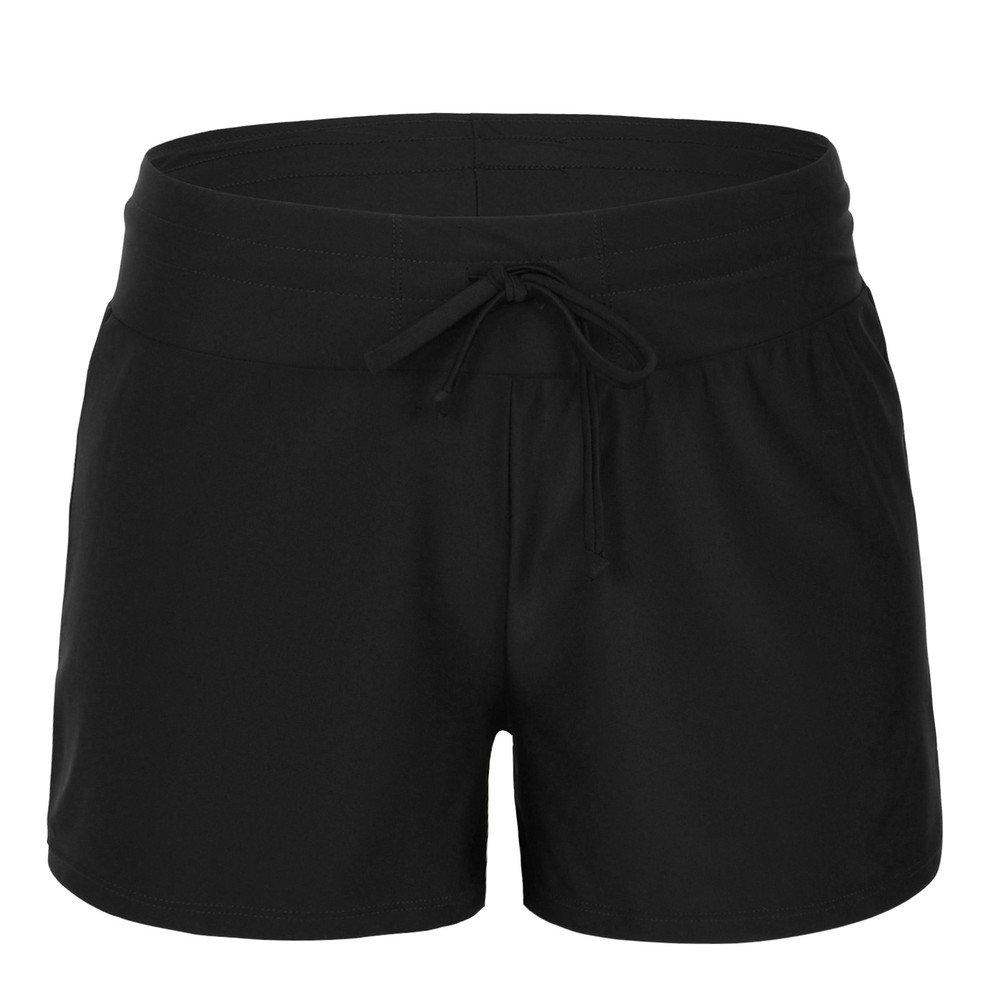 Hilor Women's Boy Leg Swim Bottom UPF 50+ Board Shorts Boyshorts Swim Shorts Tankini Bottom Black 16