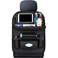Car Seat Back Storage Bag with Foldable Table Tray PU Leather Multifunction Holder Organizer Durable Protector Travel…
