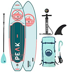 """Peak Expedition Inflatable Stand Up Paddle Board — Durable Lightweight Touring SUP with Stable Wide Stance — 11' Long x 32"""" Wide x 6"""" Thick"""