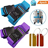 Adjustable Luggage Straps, Buluri Non-slip Suitcase Straps + Password Lock Clip + FREE 2 Luggage Tag for Safe Closing of Your Suitcase and Identify Your Luggage on Vacation & on Your Flight Trip