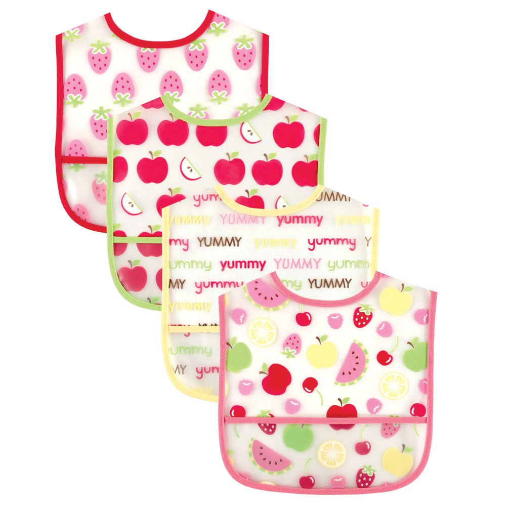 Luvable Friends Water Resistant Bibs with Crumb Catcher Pocket, Pink, 4-Count (Discontinued by Manufacturer)