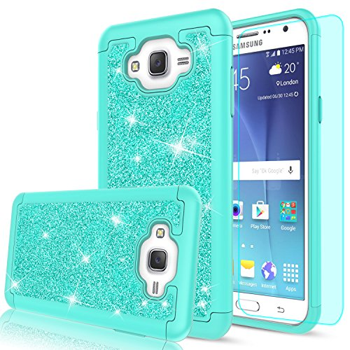 J7 Case,Galaxy J7 Case with HD Screen Protector for Women Girls,LeYi Luxury Glitter Cute [PC Silicone Leather] Heavy Duty Protective Phone Case Cover for Samsung Galaxy J7 Neo J700 2015 TP Mint