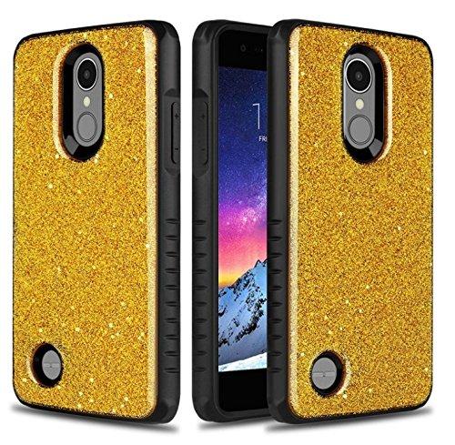 LG Aristo/LG Aristo 2/Aristo 2 Plus/Tribute Dynasty/Fortune/Fortune 2/Phoenix 3/LG K8 2017/Risio 2/Risio 3/Rebel 2/Zone 4/LG K8 Plus/LG K8 2018 Case,IDEA LINE Hybrid Glitter Bling Slim Fit - Gold