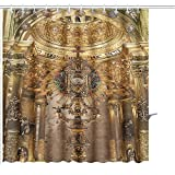 MuaToo Shower Curtain golden religious objects spain Graphic Print Polyester Fabric Bathroom Decor Sets with Hooks 72 x 78 Inches