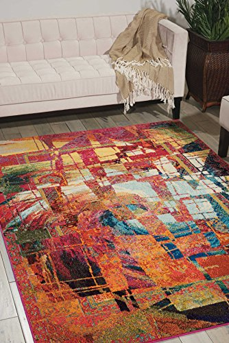 Nourison Celestial CES06 Modern Bohemian Stained Glass Multicolored Area Rug 3 Feet 11 Inches by 5 Feet 11 Inches, 3'11