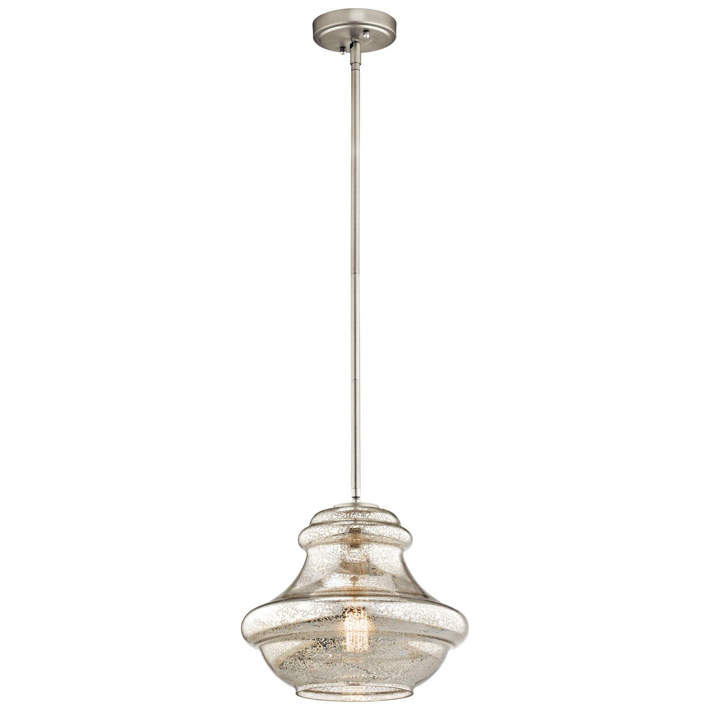 Kichler 42044NIMER, Everly Blown Glass Round Pendant, 1 Light, Brushed Nickel