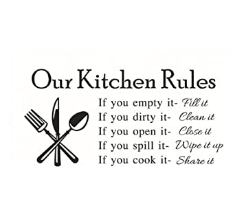 Amazon Com 23 W X 11 H Diy Our Kitchen Rules Quotes Family