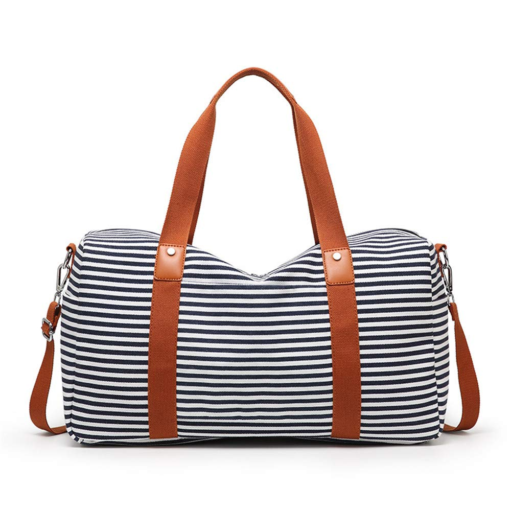 Womens Travel Bags Unisex Large Capacity Canvas Portable Striped Weekend Overnight Travel Bag Fitness Sports Duffel Tote Luggage Holdall Handbag Shoulder Bags for Men and Women Weekender Overnight Ca