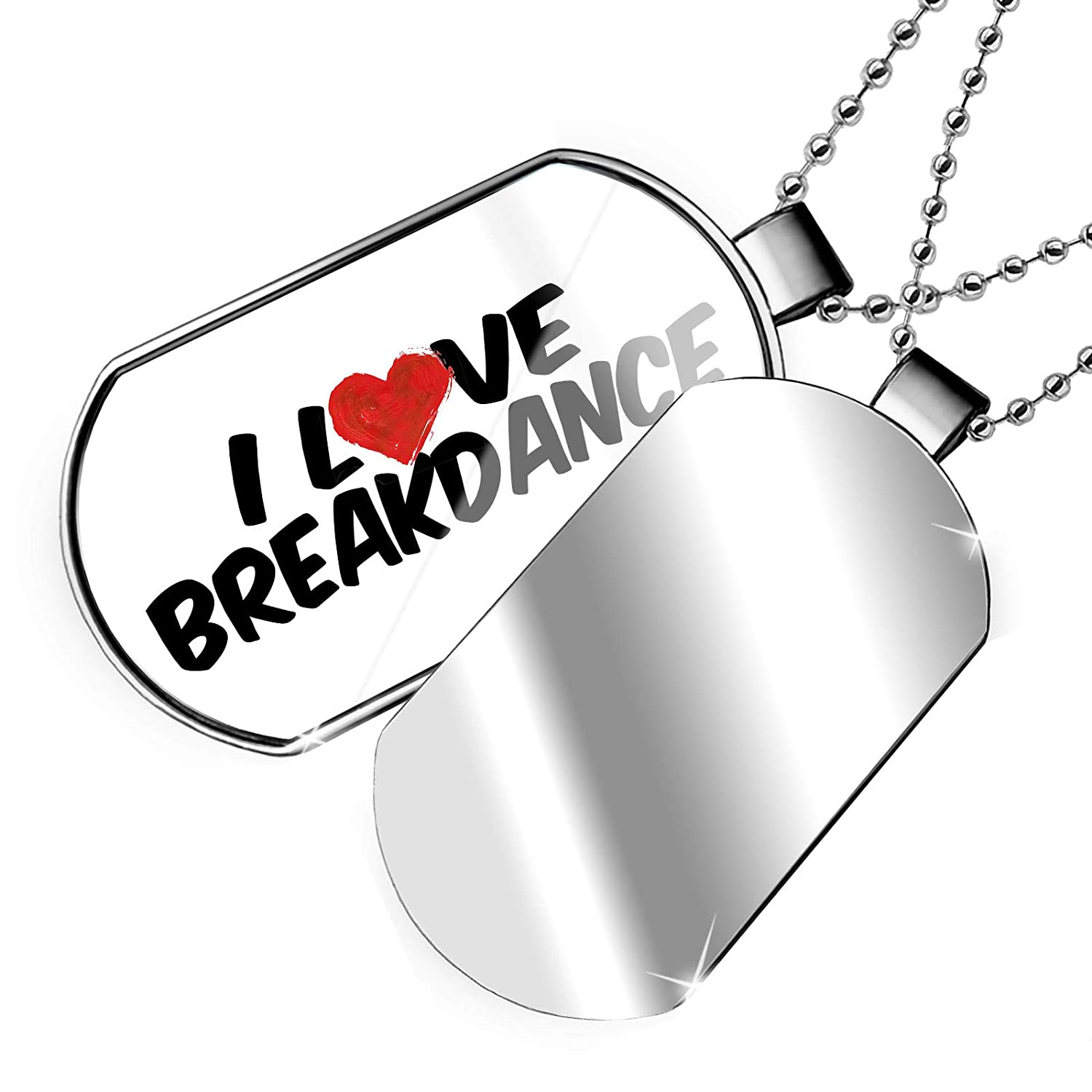 NEONBLOND Personalized Name Engraved I Love Breakdance Dogtag Necklace