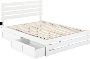 Atlantic Furniture Oxford Bed with Footboard and USB Turbo Charger with 2 Extra Long Drawers, Queen, White