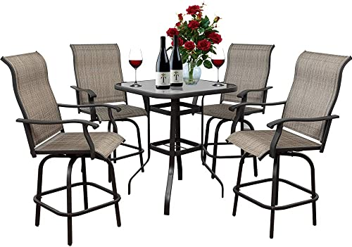 On Shine 5 PCS Outdoor Furniture Patio Swivel Bar Set Height Patio Bistro Set,4 Bar Stools and 1 Table,Patio Furniture Sets Suitable