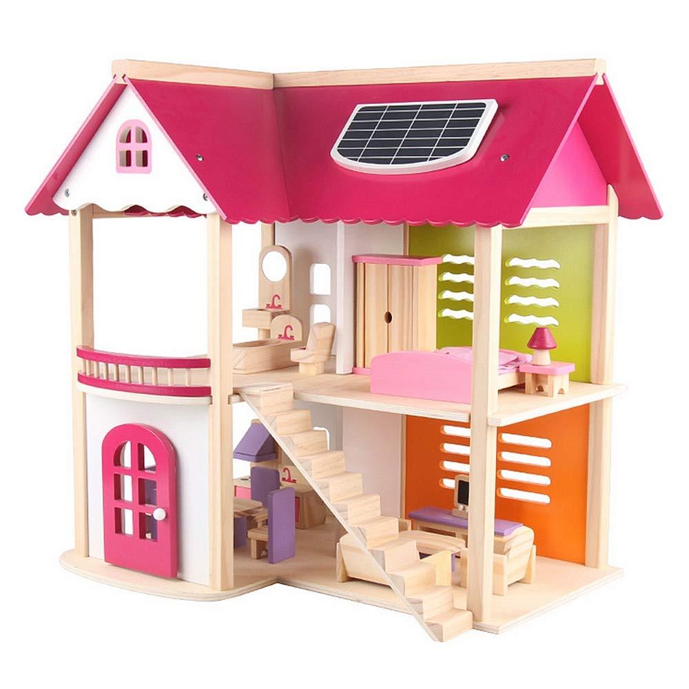 Maybesky Handgefertigtes Miniatur-Kit Rollenspiel Kinder Spielzeug Robust Holz Uptown Puppenhaus Mit Möbel Jungen Mädchen