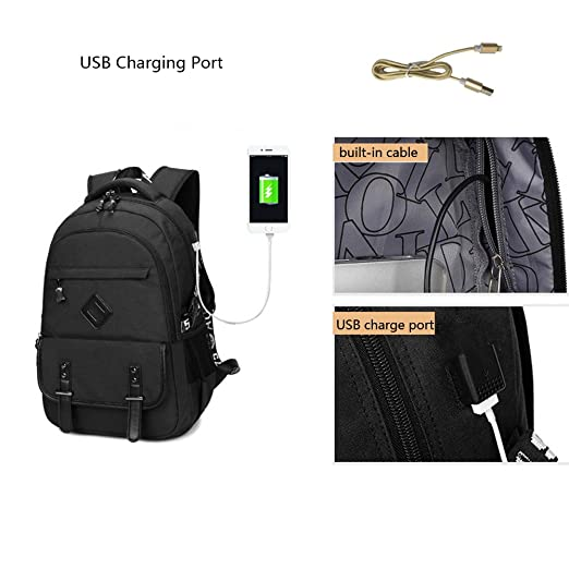 Amazon.com  Qutool Laptop Backpack USB Charger Waterproof College Backpacks  Hiking Travel Daypack Casual Bag Laptop Backpack with USB Charging Port  Travel ... 5c61c844aa
