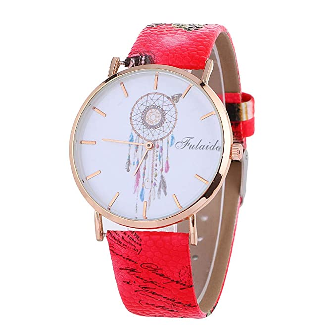 DressLksnf_Reloj Moda para Mujer Pulsera del Reloj Metal Durable Brazalete de Reloj Bonito Cadena de Cuero Imprimiendo Elegante Superficie de Estampado ...