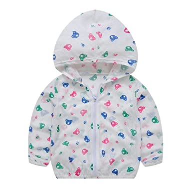 7d7953655 HUHU833 Toddler Baby Girls Summer Cartoon Sunscreen Jackets Hooded  Outerwear Fruit Print Coats - for 2-7 Years Girl: Amazon.co.uk: Clothing