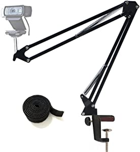 "Webcam Stand Desktop Webcam Mount Adjustable Suspension Boom Scissor Arm Camera Desk Clamp Mount Holder for Logitech Webcam C920 C930 C922 C615, Microsoft LifeCam, and Other Devices with 1/4"" Thread"