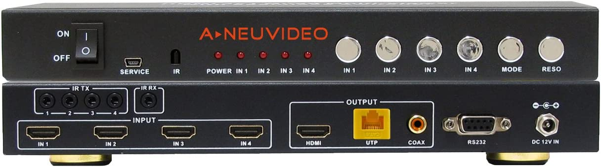 A-NeuVideo 4x1 HDMI Quad Multi-Viewer with Seamless Switcher