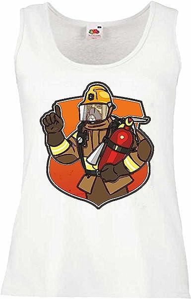 Camisa del músculo Tank Top Bombero con PROTECCIÓN y extintores de Fuego Bombero voluntario de la Empresa APT Bombero Profesional Insert Cabeza DE Bomberos DE Fuego Manga en Blanco: Amazon.es: Ropa y