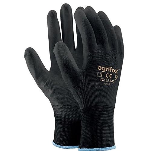 24 Pairs PU Coated Black Nylon Work Gloves. Gardening, Builders, Mechanic (S (7))
