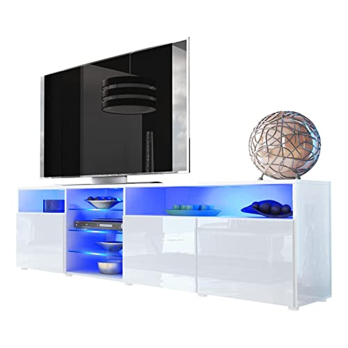 Meble Furniture Rugs TV Stand Roma Matte Body High Gloss Doors Modern TV Stand LED White