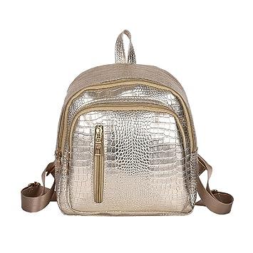 Mini mochila para Mujer - Dxlta Bolso cremallera de cuero PU Bolso de la escuela Mochilas de viaje: Amazon.es: Equipaje