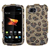 Asmyna ZTEN861HPCDM113NP Premium Dazzling Diamante Diamond Case for ZTE Warp Sequent N861 - 1 Pack - Retail Packaging - Leopard Skin