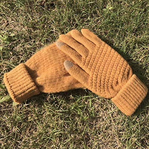1 Pc (1 Pair) Women Winter Gloves Color Yellow Warm Knitted Full Finger Screen Mittens Unisex Mens Girls Toddler Notable Fashionable Extreme Gym Football Cycling Hand Wrist Straps Dryer Touch Glove