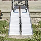 HOMCOM 8.1ft Foldable Wheelchair Ramp Portable Scooter Mobility Carrier Ramp with Carry Handle, Aluminum Alloy
