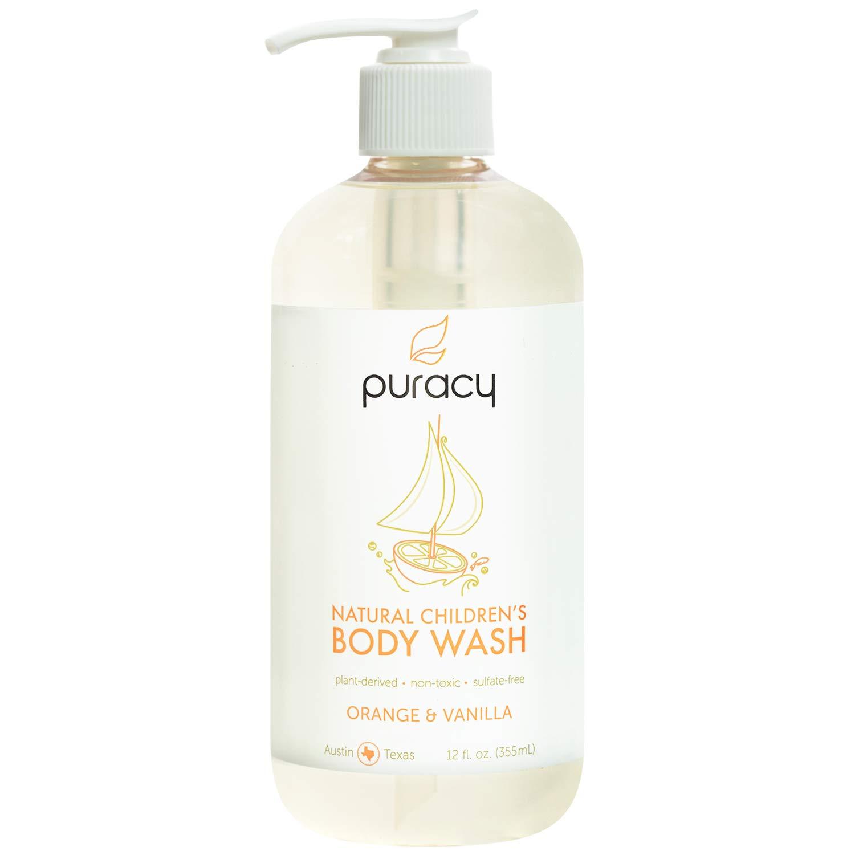 Puracy Natural Children's Body Wash, Tear-Free Kid's Soap, Sulfate-Free, Orange & Vanilla, 12-Ounce