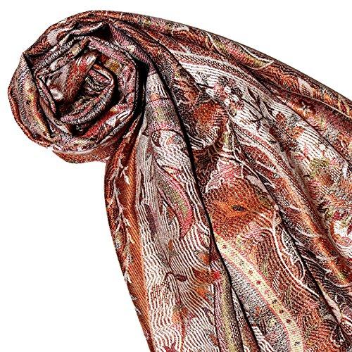 LORENZO cANA ensemble soie été 75 x 190 marron rouille rouge/beige/bleu/motif cachemire seidenschal damentuch 78013 écharpe