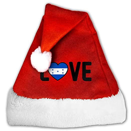 cea088cac Amazon.com: Honduras Pride Love Christmas Hat, Red&White Xmas Santa Claus'  Cap for Holiday Party Hat: Clothing