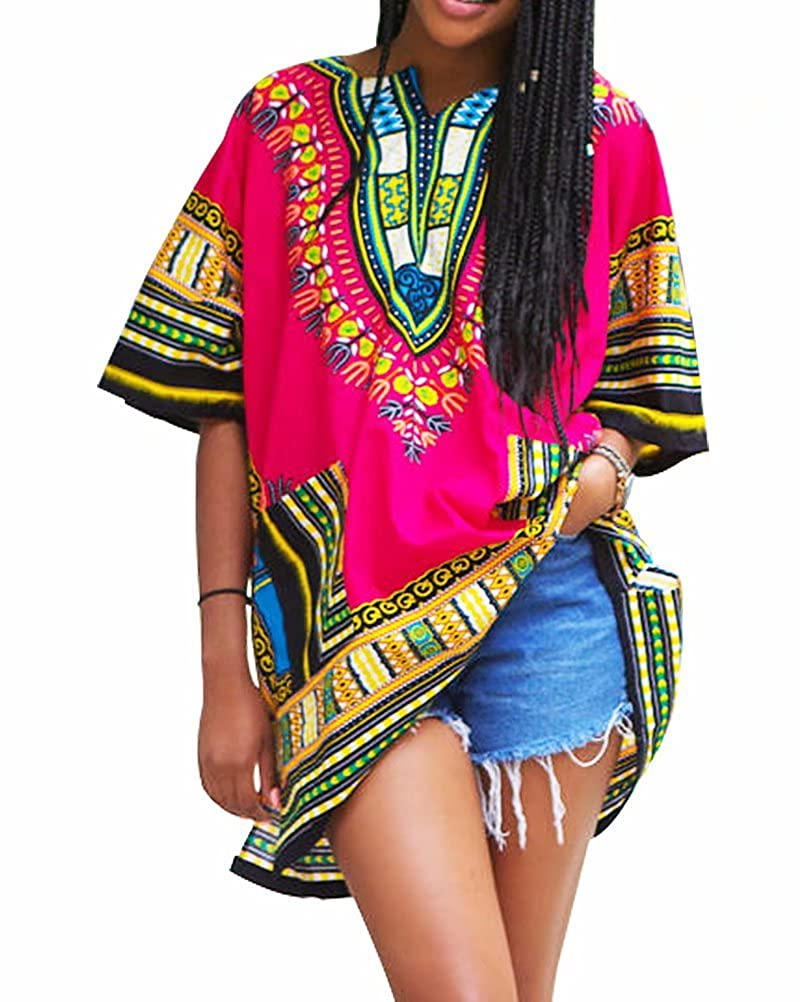 SUSIELADY Unisex Women's Dashiki African Dresses Fashion Vintage Loose Short Sleeve Shirt Men SLL01A