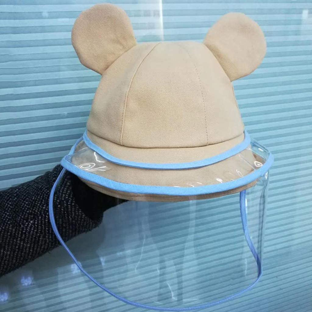 Newmao Boys Girls Protective Hat Mask Transparent Dustproof Cute Cartoon Ears Fisherman Cover Cap Suit for 2-8 Years Old Kids