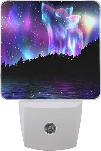 Vinln - Luz de noche para coche, diseño de lobo galaxia, para atardecer hasta el amanecer, para dormitorio, pasillo, escalera, vivienda (no apto para Reino Unido): Amazon.es: Iluminación