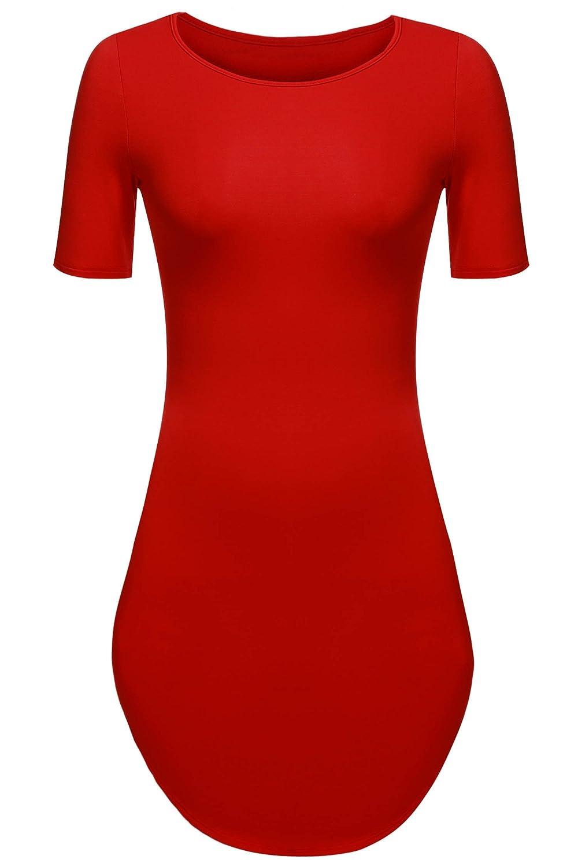 Meaneor Women's Short Sleeve Side Slit Beach Mini Dress Rounded Hem Long Tshirts