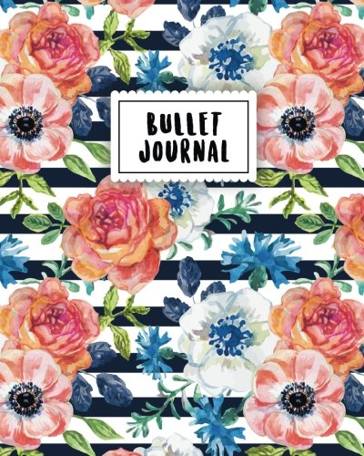 Bullet Journal: Vintage Blue Flower | 150 Dot Grid Pages (size 8x10 inches) | with Bullet Journal Sample Ideas