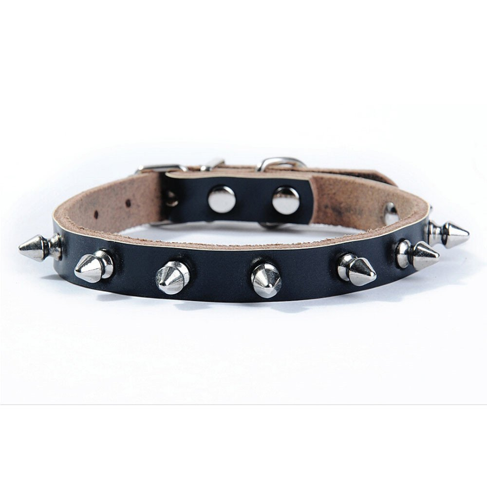 Benala Genuine Leather One Rows Spikes Studded Dog Pet Collar Small Medium Dogs Puppy Necklace