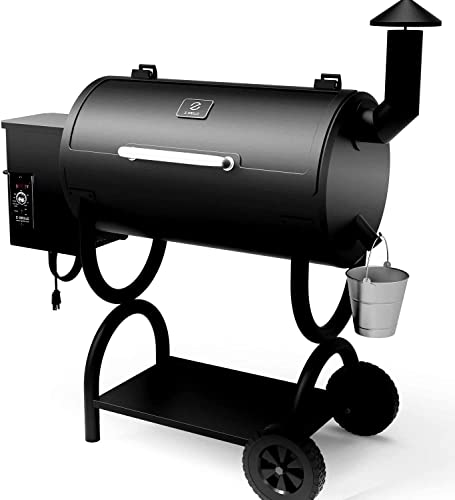 Z GRILLS Pellet Grill Smoker -,6-in-1 Outdoor Wood Pellet BBQ Grills with Electric Digital Control, 550Sq.in Grilling Area,10LB Hopper, Black