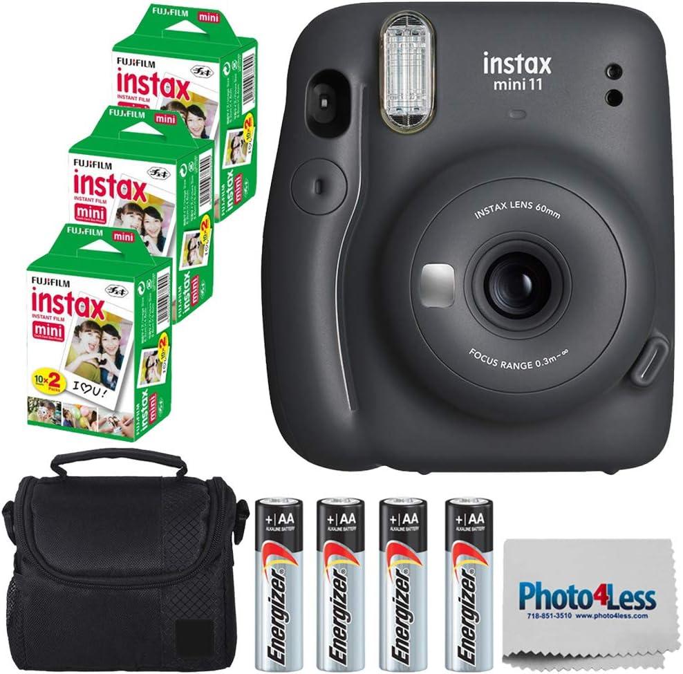 Fujifilm Instax Mini 11 Instant Camera - Charcoal Grey (16654786) + 3 Packs Fujifilm Instax Mini Twin Pack Instant Film (16437396) + Batteries + Case Cloth