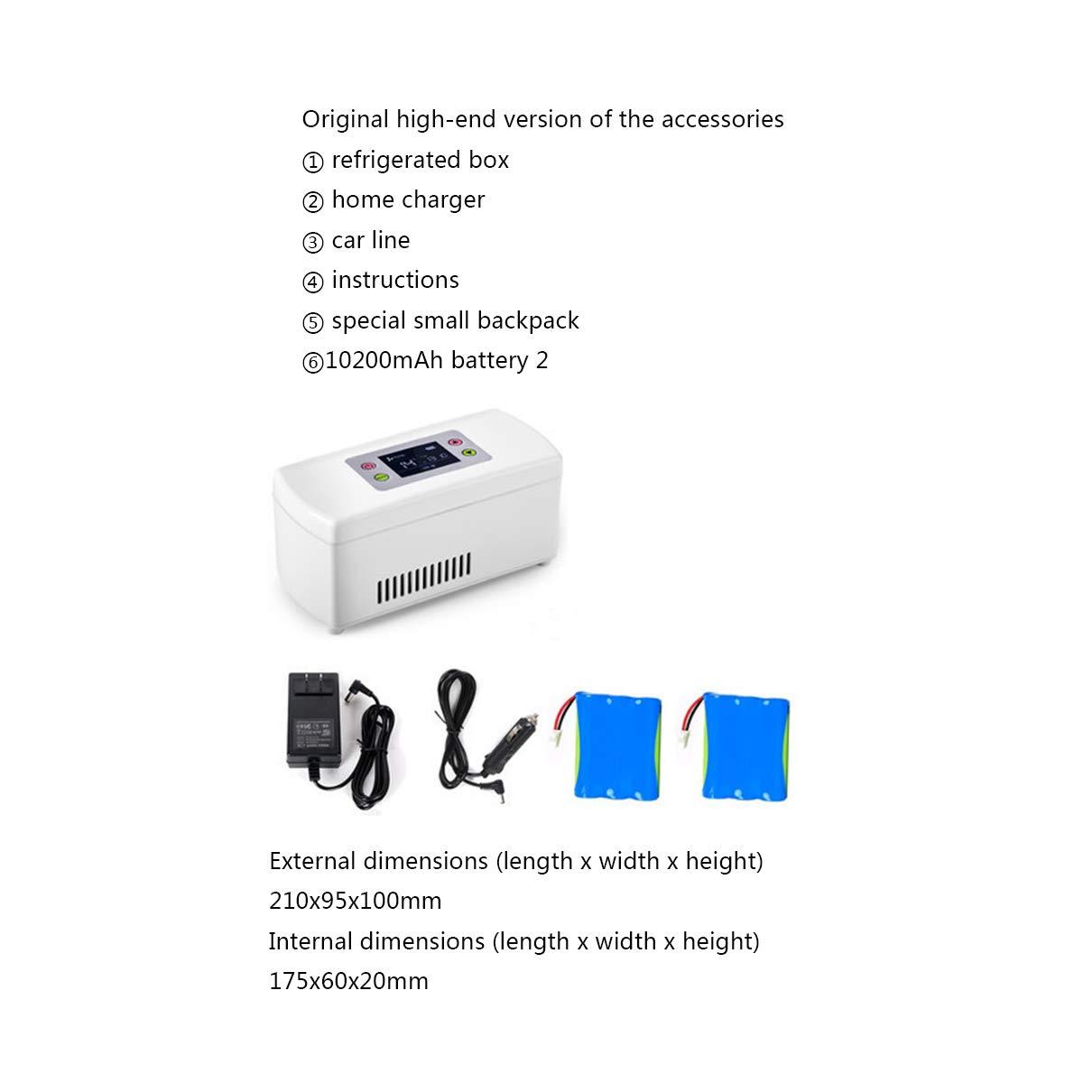 Dapang USB Portable Insulin Cooler Case,HD LED Display Drug Reefer, Intelligent Refrigeration Refrigerated Box,2-8 Degree Insulation car Mini Refrigerator for Insulin Pen,2