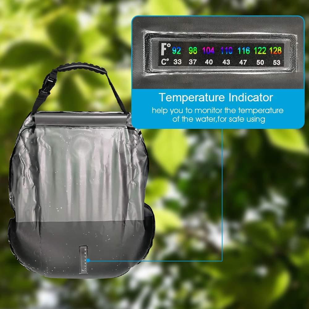 PERFETSELL Solar Dusche Tasche 5 Gallonen//20L Tragbare Camping Dusche Tasche Solar Heizung Outdoor Warmwasser Dusche Gartendusche Reisedusche mit Duschkopf /& On-Off Switchable Wandern Wassersack