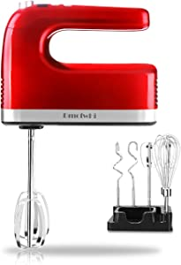 DmofwHi 9-Speed Electric Hand Mixer (400W) with Digital Screen and Timer, Kitchen Handheld Mixer with 6 Stainless Steel Attachments and Storage Case - Empire Red.