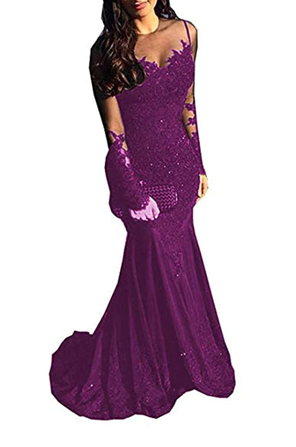 Purple Ri Yun Sexy Illusions Long Sleeve Lace Prom Dresses Mermaid 2019 Beaded Appliques Formal Evening Ball Gowns