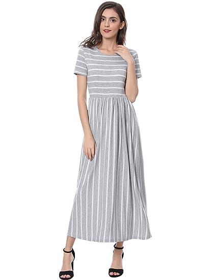 b0269a78401b Allegra K Women s Summer Short Sleeves Contrast Mix Striped T-Shirt Maxi  Dress Gray S
