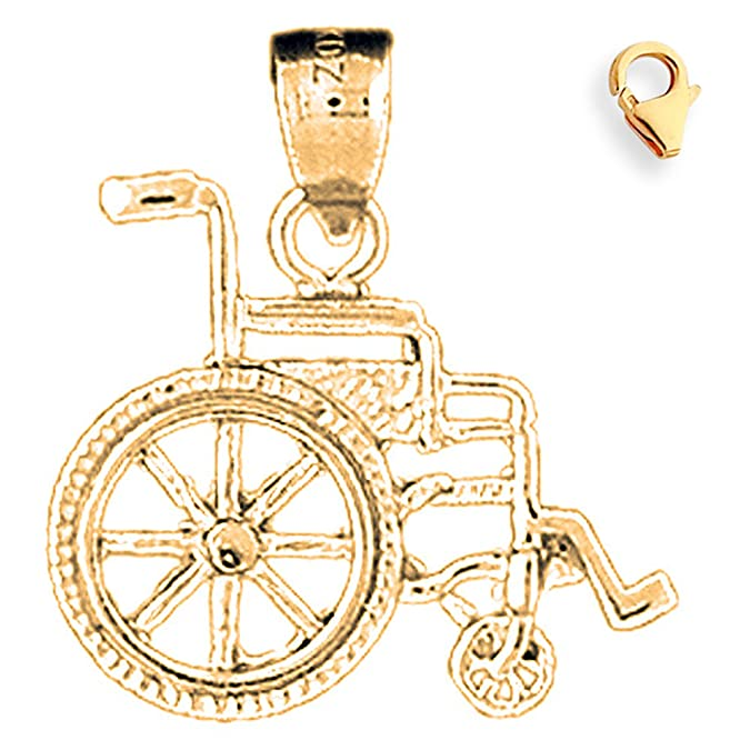 Silver Yellow Plated Wheelchair Charm 21mm