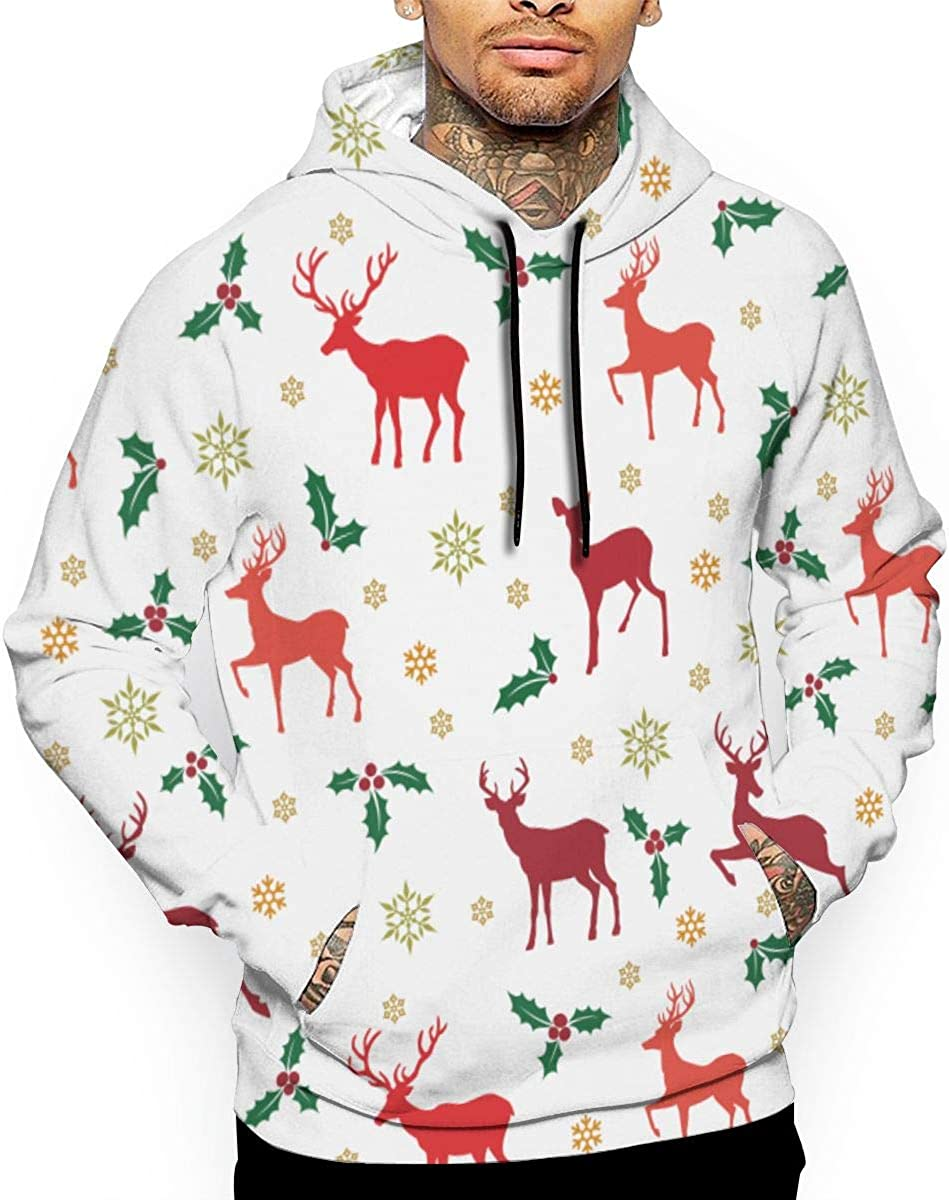 Color Deer Snowflake Mens Front Pouch Pocket Pullover Hoodie Sweatshirt Long Sleeves Pullover Tops