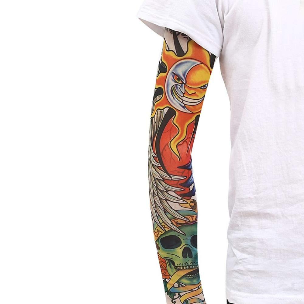 Ffooxxii Tattoo Sleeve Flower Arm Tattoo Summer Ice Silk Sun Visor Gloves Sleeve Men Long Ride Run Men Ice Sleeve Women@One size_21 models 2