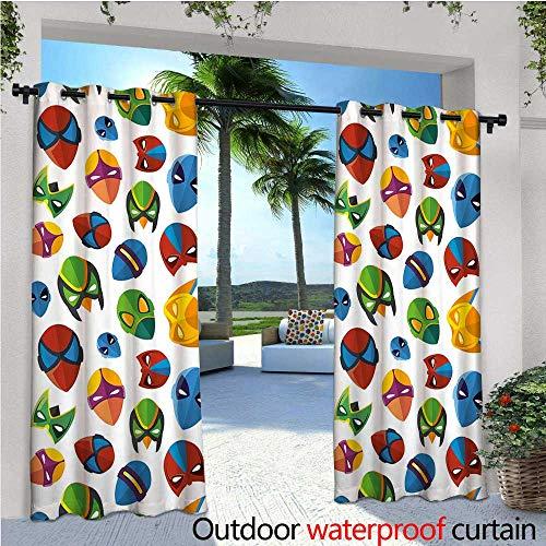 cobeDecor Superhero Fashions Drape Legendary Cartoon Character Masks Flash Batman Spider-Man Comic Costume Print Outdoor Curtain Waterproof Rustproof Grommet Drape W96 x L84 Multicolor